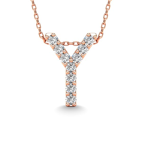 "Diamond 1/10 Ct.Tw. Letter ""Y"" Pendant in 14K Rose Gold Robert Irwin Jewelers Memphis, TN"