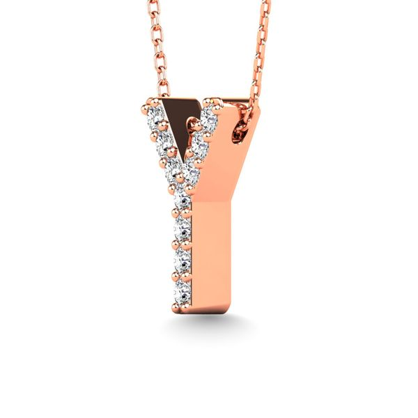 "Diamond 1/10 Ct.Tw. Letter ""Y"" Pendant in 14K Rose Gold Image 2 Robert Irwin Jewelers Memphis, TN"