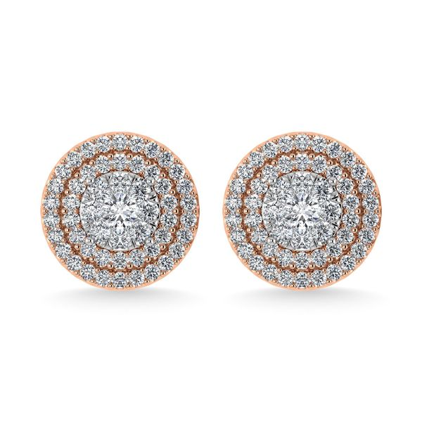Diamond 7/8 Ct.Tw. Round Shape Cluster Earrings in 10K Rose Gold Image 2 Robert Irwin Jewelers Memphis, TN