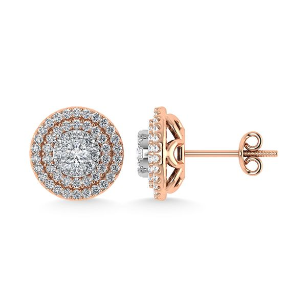 Diamond 7/8 Ct.Tw. Round Shape Cluster Earrings in 10K Rose Gold Image 3 Robert Irwin Jewelers Memphis, TN