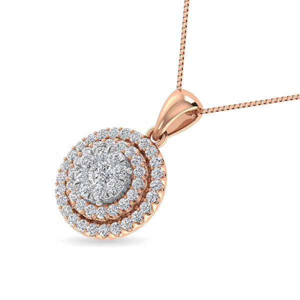 Diamond 3/4 Ct.Tw. Round Shape Cluster Pendant in 10K Rose Gold Image 2 Robert Irwin Jewelers Memphis, TN