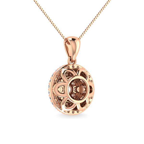 Diamond 3/4 Ct.Tw. Round Shape Cluster Pendant in 10K Rose Gold Image 4 Robert Irwin Jewelers Memphis, TN