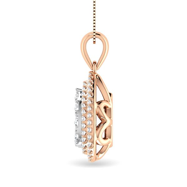 Diamond 3/4 Ct.Tw. Pear Shape Cluster Pendant in 10K Rose Gold Image 3 Robert Irwin Jewelers Memphis, TN