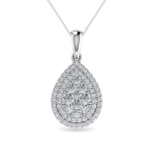 Diamond 3/4 Ct.Tw. Pear Shape Cluster Pendant in 10K White Gold Robert Irwin Jewelers Memphis, TN