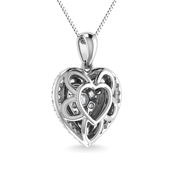 Diamond 3/4 Ct.Tw. Heart Shape Cluster Pendant in 10K White Gold Image 4 Robert Irwin Jewelers Memphis, TN