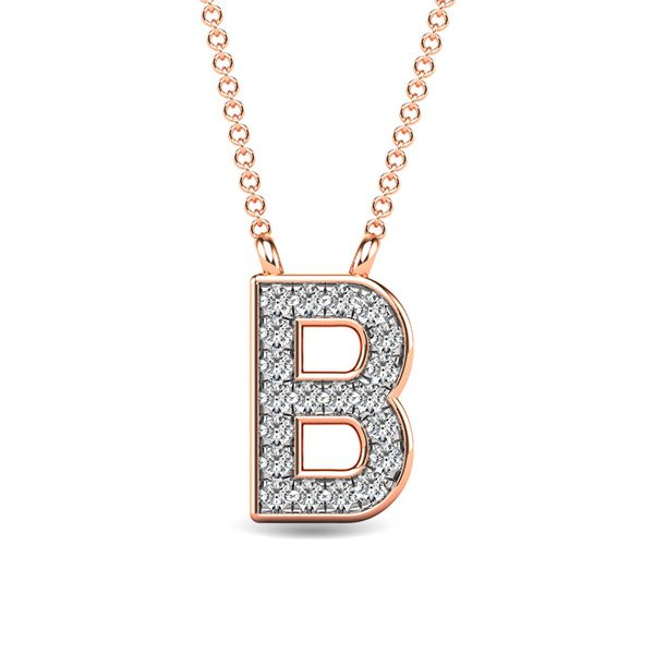 "Diamond 1/20 Ct.Tw. Letter B"" Pendant in 10K Rose Gold"" Robert Irwin Jewelers Memphis, TN"