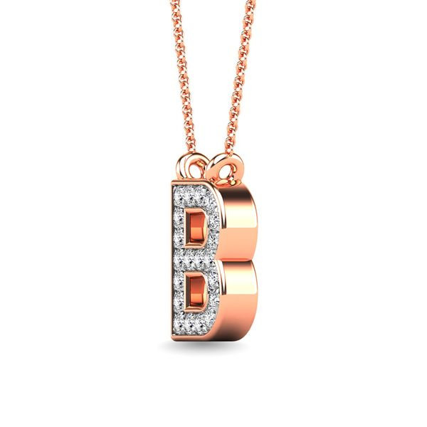 "Diamond 1/20 Ct.Tw. Letter B"" Pendant in 10K Rose Gold"" Image 2 Robert Irwin Jewelers Memphis, TN"
