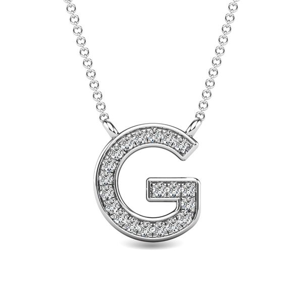 "Diamond 1/20 Ct.Tw. Letter G"" Pendant in 10K White Gold"" Robert Irwin Jewelers Memphis, TN"