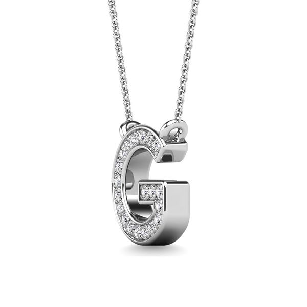"Diamond 1/20 Ct.Tw. Letter G"" Pendant in 10K White Gold"" Image 2 Robert Irwin Jewelers Memphis, TN"