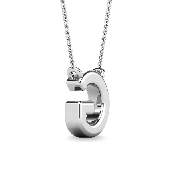 "Diamond 1/20 Ct.Tw. Letter G"" Pendant in 10K White Gold"" Image 3 Robert Irwin Jewelers Memphis, TN"