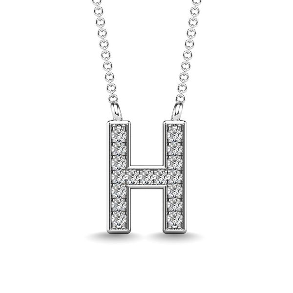 "Diamond 1/20 Ct.Tw. Letter H"" Pendant in 10K White Gold"" Robert Irwin Jewelers Memphis, TN"
