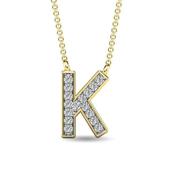 "Diamond 1/20 Ct.Tw. Letter K"" Pendant in 10K Yellow Gold"" Robert Irwin Jewelers Memphis, TN"