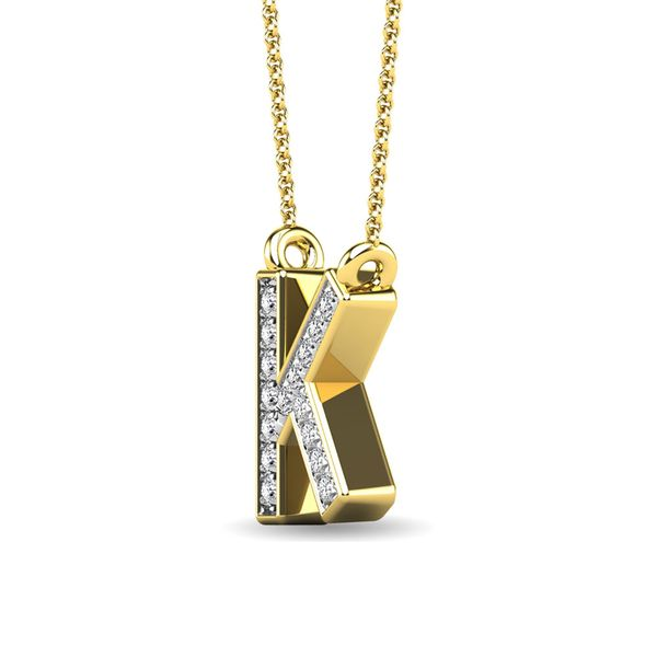 "Diamond 1/20 Ct.Tw. Letter K"" Pendant in 10K Yellow Gold"" Image 2 Robert Irwin Jewelers Memphis, TN"