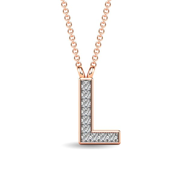 "Diamond 1/20 Ct.Tw. Letter L"" Pendant in 10K Rose Gold"" Robert Irwin Jewelers Memphis, TN"