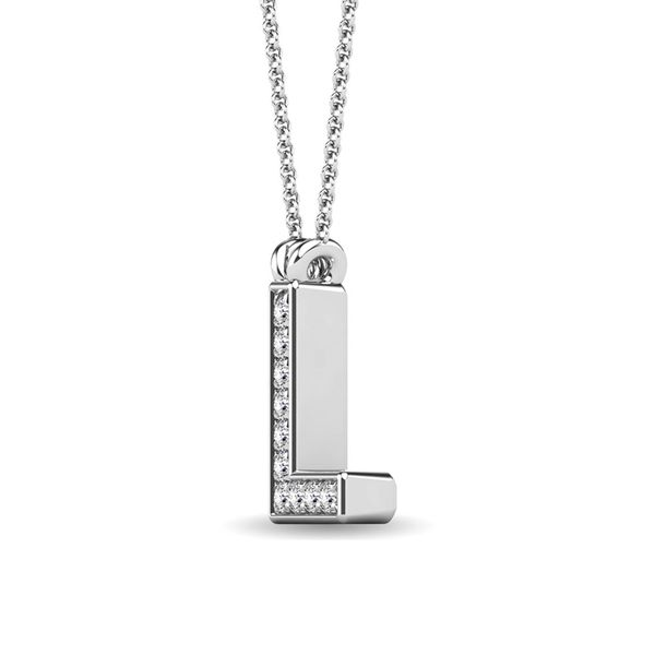 "Diamond 1/20 Ct.Tw. Letter L"" Pendant in 10K White Gold"" Image 2 Robert Irwin Jewelers Memphis, TN"