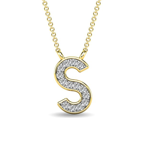 "Diamond 1/20 Ct.Tw. Letter S"" Pendant in 10K Yellow Gold"" Robert Irwin Jewelers Memphis, TN"
