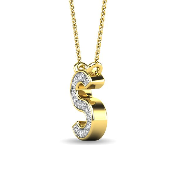 "Diamond 1/20 Ct.Tw. Letter S"" Pendant in 10K Yellow Gold"" Image 2 Robert Irwin Jewelers Memphis, TN"