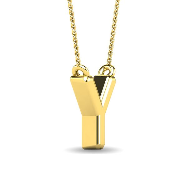 "Diamond 1/20 Ct.Tw. Letter Y"" Pendant in 10K Yellow Gold"" Image 3 Robert Irwin Jewelers Memphis, TN"