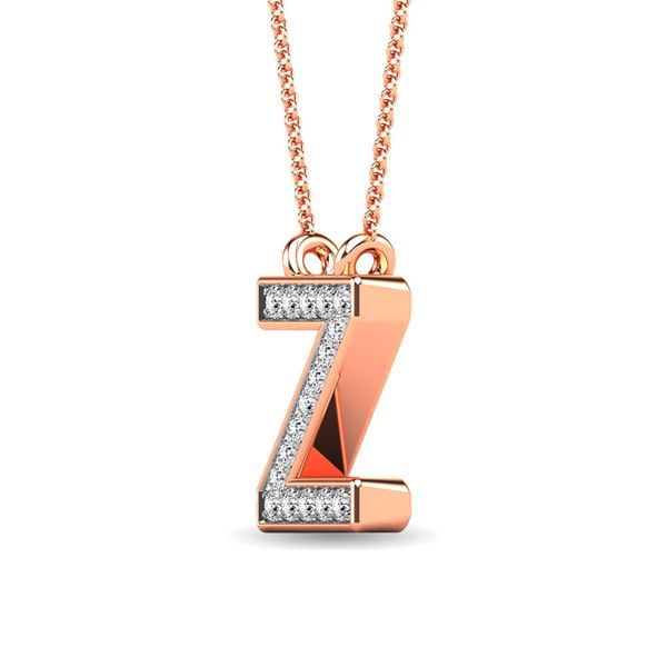 "Diamond 1/20 Ct.Tw. Letter Z"" Pendant in 10K Rose Gold"" Image 2 Robert Irwin Jewelers Memphis, TN"