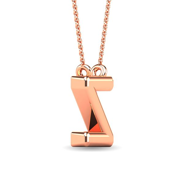 "Diamond 1/20 Ct.Tw. Letter Z"" Pendant in 10K Rose Gold"" Image 3 Robert Irwin Jewelers Memphis, TN"