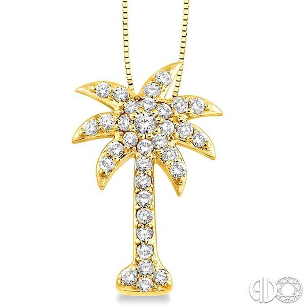 1/2 Ctw Round Cut Diamond Palm Tree Pendant in 14K Yellow Gold with Chain Robert Irwin Jewelers Memphis, TN