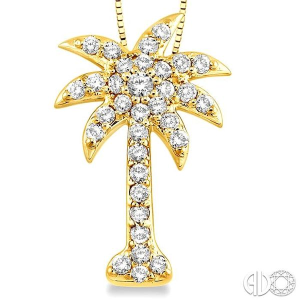 1/2 Ctw Round Cut Diamond Palm Tree Pendant in 14K Yellow Gold with Chain Image 3 Robert Irwin Jewelers Memphis, TN