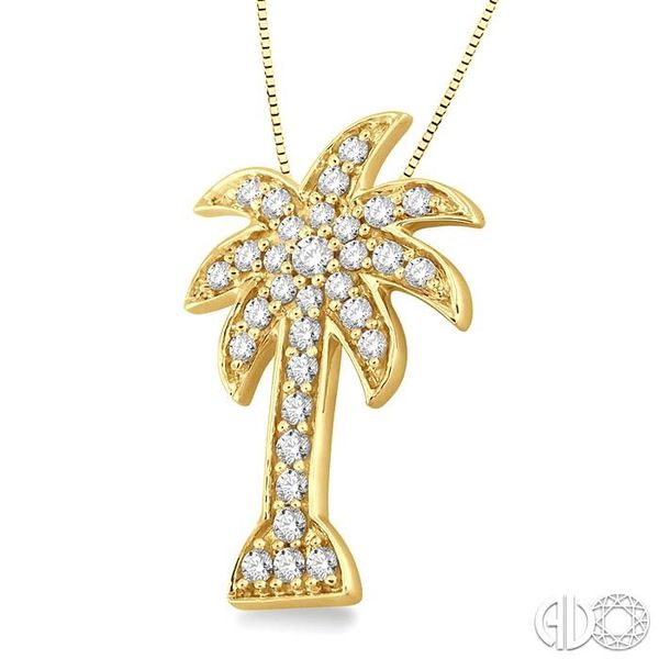 1/2 Ctw Round Cut Diamond Palm Tree Pendant in 14K Yellow Gold with Chain Image 2 Robert Irwin Jewelers Memphis, TN