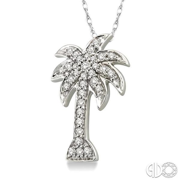 1/10 Ctw Palm Tree Single Cut Diamond Pendant in 10K White Gold with Chain Image 2 Robert Irwin Jewelers Memphis, TN