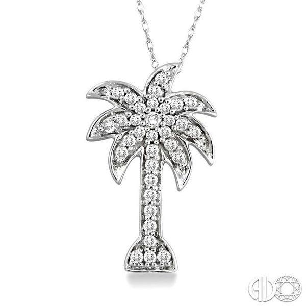 1/10 Ctw Palm Tree Single Cut Diamond Pendant in 10K White Gold with Chain Robert Irwin Jewelers Memphis, TN