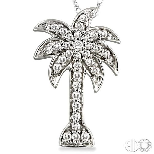 1/10 Ctw Palm Tree Single Cut Diamond Pendant in 10K White Gold with Chain Image 3 Robert Irwin Jewelers Memphis, TN