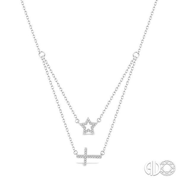 1/6 Ctw Star & Cross Charm Round Cut Diamond Layered Pendant With Link Chain in 10K White Gold Robert Irwin Jewelers Memphis, TN