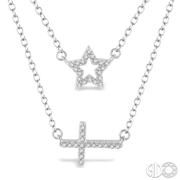 1/6 Ctw Star & Cross Charm Round Cut Diamond Layered Pendant With Link Chain in 10K White Gold Image 3 Robert Irwin Jewelers Memphis, TN