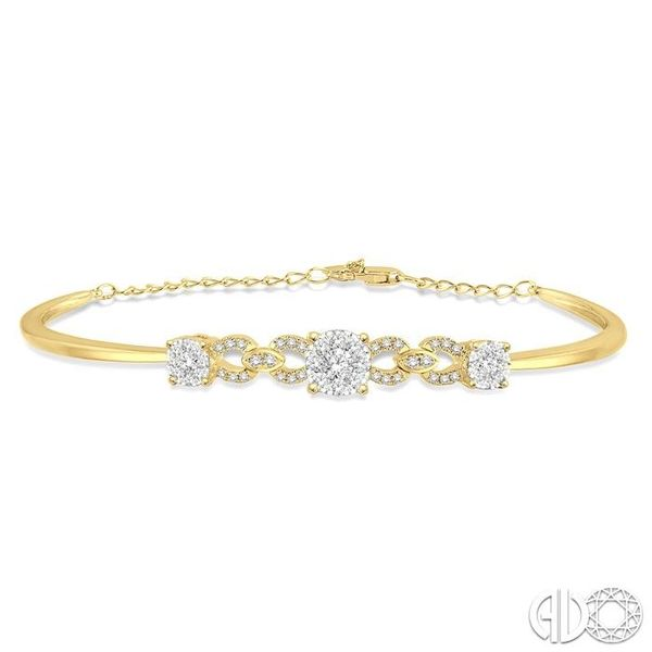 3/4 Ctw Round Cut Diamond Lovebright Bracelet in 14K Yellow Gold Robert Irwin Jewelers Memphis, TN