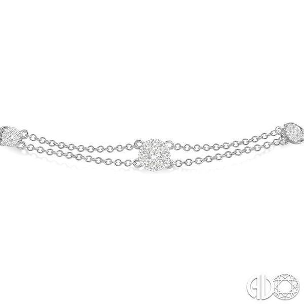 1/2 Ctw Round Cut Diamond Lovebright Double Link Chain Bracelet in 14K White Gold Image 3 Robert Irwin Jewelers Memphis, TN