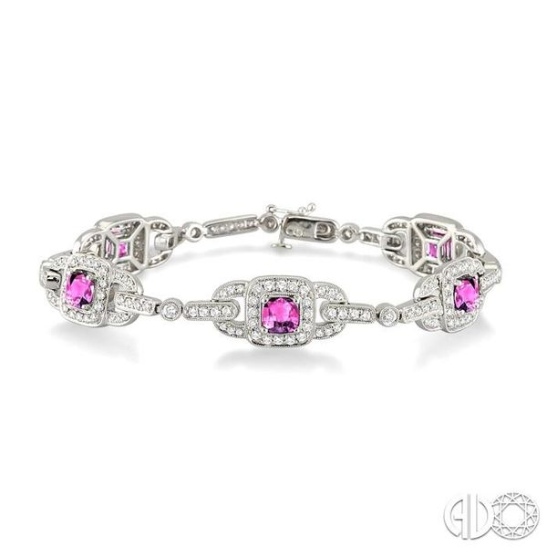 5x5mm Cushion Cut Pink Sapphire and 2 Ctw Round Cut Diamond Tennis Bracelet in 14K White Gold Robert Irwin Jewelers Memphis, TN