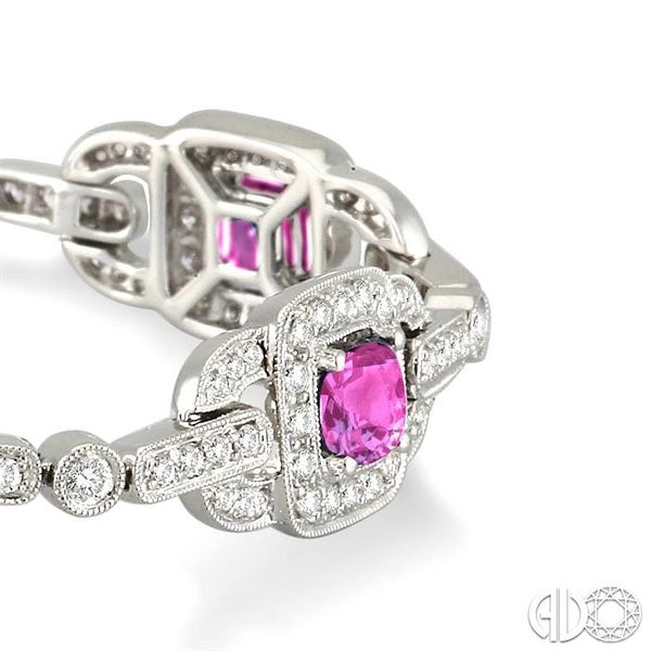 5x5mm Cushion Cut Pink Sapphire and 2 Ctw Round Cut Diamond Tennis Bracelet in 14K White Gold Image 2 Robert Irwin Jewelers Memphis, TN