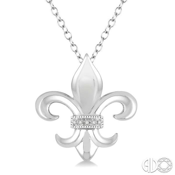 1/50 Ctw Round Cut Diamond Fleur De Lis Pendant in Sterling Silver with Chain Robert Irwin Jewelers Memphis, TN