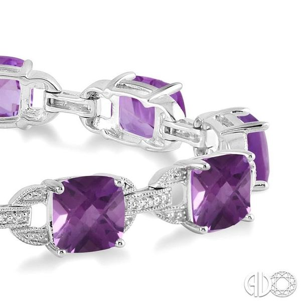 7x7 mm Cushion Cut Amethyst and 1/20 Ctw Round Cut Diamond Fashion Tennis Bracelet in Sterling Silver Image 2 Robert Irwin Jewelers Memphis, TN