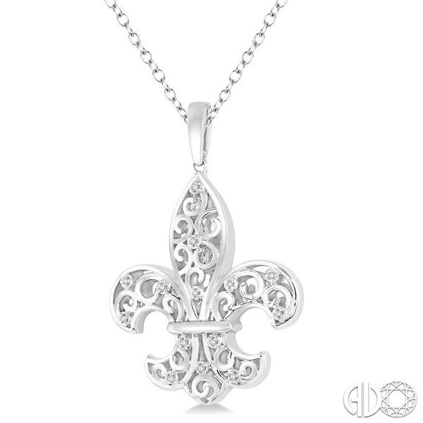 1/20 Ctw Round Cut Diamond Fleur De Lis Pendant in Sterling Silver with Chain Image 2 Robert Irwin Jewelers Memphis, TN