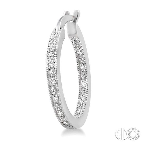 SILVER HOOP DIAMOND EARRINGS Image 3 Robert Irwin Jewelers Memphis, TN