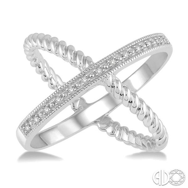 'X' SHAPE SILVER DIAMOND RING Image 2 Robert Irwin Jewelers Memphis, TN