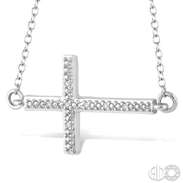 1/50 Ctw Round Cut Diamond Cross Pendant in Sterling Silver with Chain Image 2 Robert Irwin Jewelers Memphis, TN