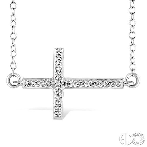 1/50 Ctw Round Cut Diamond Cross Pendant in Sterling Silver with Chain Robert Irwin Jewelers Memphis, TN