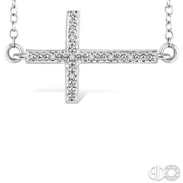 1/50 Ctw Round Cut Diamond Cross Pendant in Sterling Silver with Chain Image 3 Robert Irwin Jewelers Memphis, TN