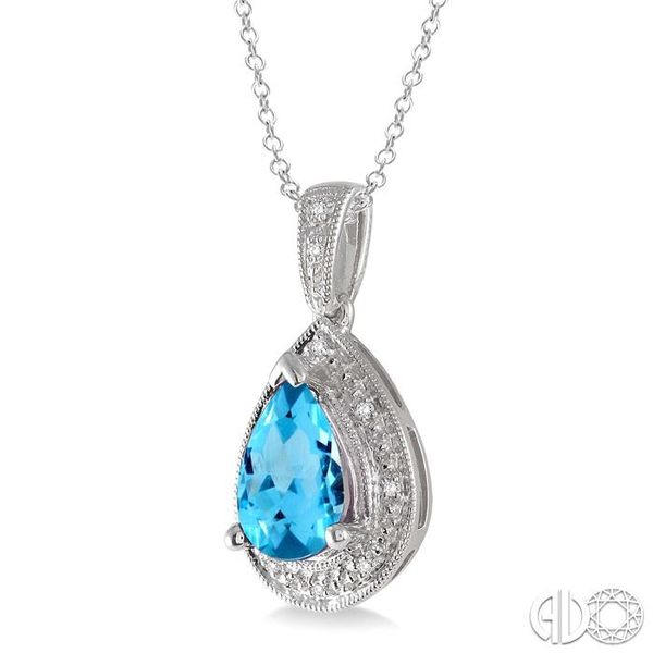 10x7 MM Pear Shape Blue Topaz and 1/20 Ctw Single Cut Diamond Pendant in Sterling Silver with chain Image 2 Robert Irwin Jewelers Memphis, TN