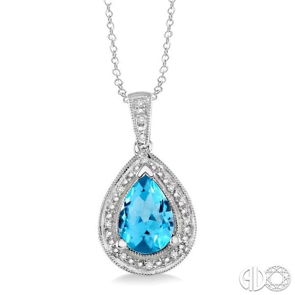 10x7 MM Pear Shape Blue Topaz and 1/20 Ctw Single Cut Diamond Pendant in Sterling Silver with chain Robert Irwin Jewelers Memphis, TN