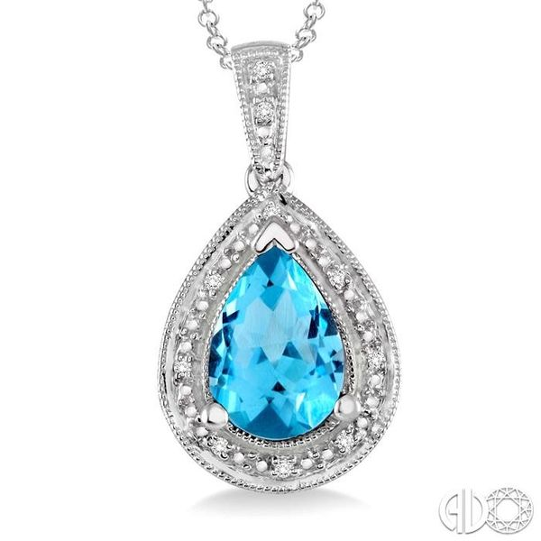 10x7 MM Pear Shape Blue Topaz and 1/20 Ctw Single Cut Diamond Pendant in Sterling Silver with chain Image 3 Robert Irwin Jewelers Memphis, TN