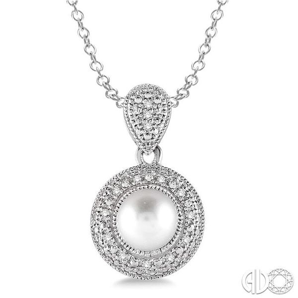 6.5x6.5 mm Cultured Pearl and 1/20 Ctw Single Cut Diamond Pendant in Sterling Silver with Chain Robert Irwin Jewelers Memphis, TN
