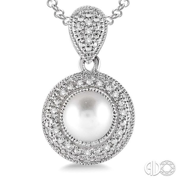 6.5x6.5 mm Cultured Pearl and 1/20 Ctw Single Cut Diamond Pendant in Sterling Silver with Chain Image 3 Robert Irwin Jewelers Memphis, TN