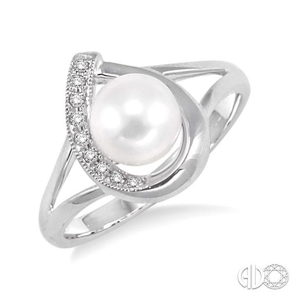 6.5 MM Cultured Pearl and 1/20 Ctw Single Cut Diamond Ring in Sterling Silver Robert Irwin Jewelers Memphis, TN